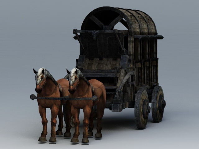 Old HorseDrawn Carriage 3d model 3ds Max files free