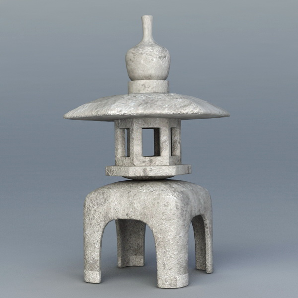 Old Japanese Stone Garden Lantern 3d Model 3ds Max Files
