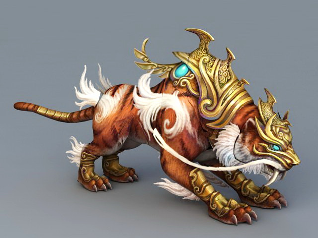 Armored Tiger Mount 3d Model 3ds MaxObject Files Free