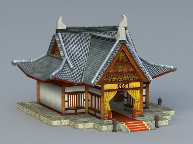 Ancient Chinese Reception Hall 3d Model 3ds Max Files Free