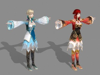 Medieval Chinese Girls 3d model 3ds Max Maya files free