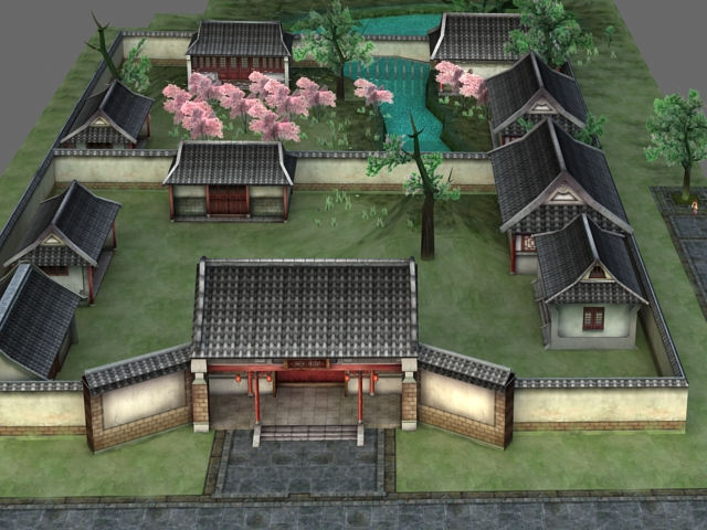Ancient Chinese Courtyard House 3d Model 3ds Max Files