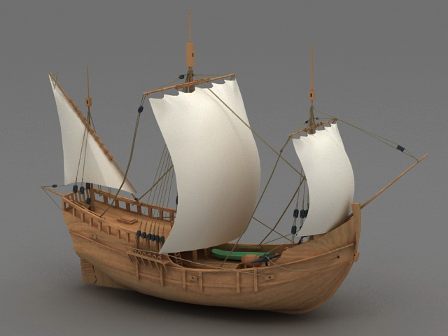 wooden sailing ship 3d