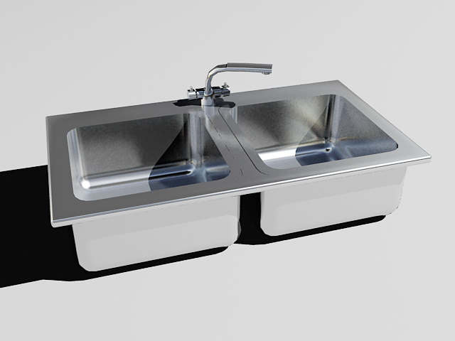 Stainless Steel Kitchen Sink 3d Model 3ds Max Files Free