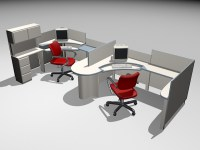 Modular Office Workstations 3d model 3ds Max files free