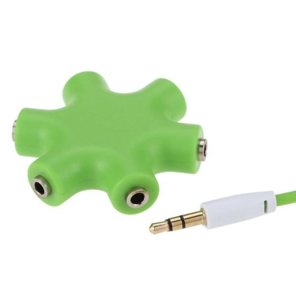 3.5mm 6 Ports Multi Headphone Headset Earphone Splitter Green Online Shopping