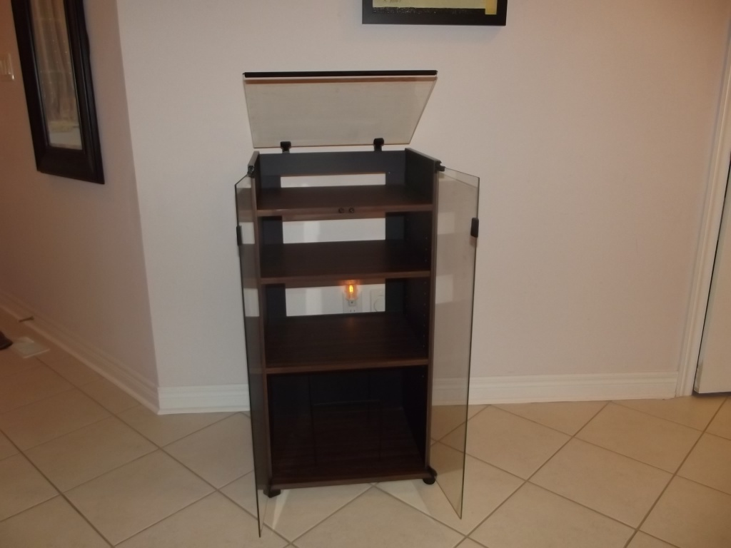 Audio Rack Stereo Cabinet Vintage NEW Glass Top Turntable