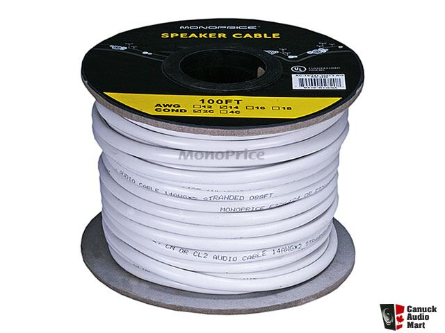 Monoprice 100ft 14AWG CL2 Rated 2-Conductor Loud Speaker