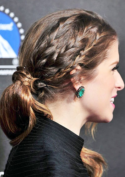 Anna Kendricks Half Braided Ponytail Hairstyle Prom
