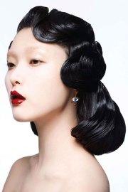 ji hye park vintage pin curls hairstyle