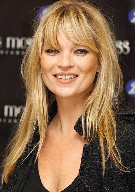 Kate Moss Messy Layered Long Hair With Bangs Casual