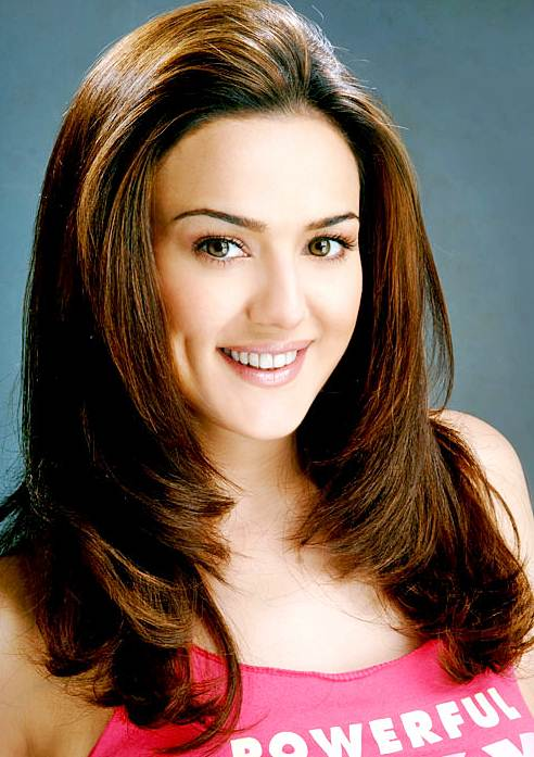 Preity Zintas Long Layered Hairstyle Casual Party