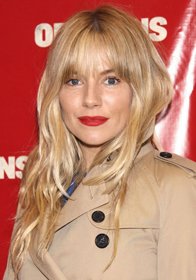 Sienna Millers Long Wavy Hairstyle With Blunt Bangs