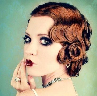 vintage auburn pin curls wedding formal careforhair