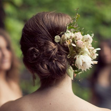 Cluster Of Buns With Flowers  Wedding  Careforhaircouk
