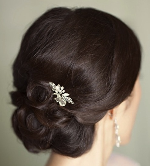Brunette Curly Chignon Updo Prom Wedding Party Formal