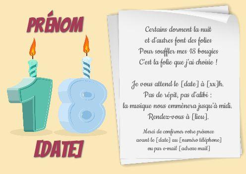 invitation anniversaire 18 ans bougie