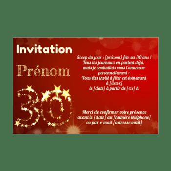 invitation d anniversaire 30 ans
