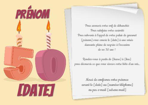 invitation anniversaire 50 ans bougie
