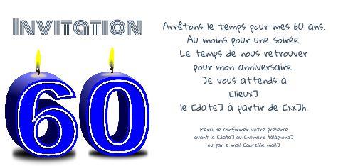 invitation anniversaire 60 ans bougie