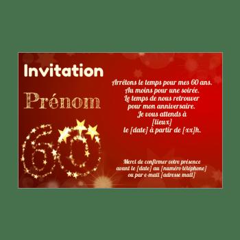 invitation d anniversaire 60 ans