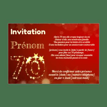 invitation d anniversaire 70 ans