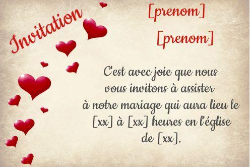 invitation faire part mariage coeur