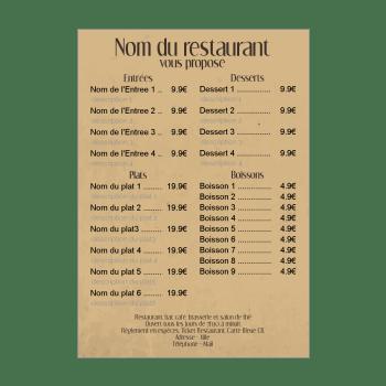 menu de restaurant simple page gratuit