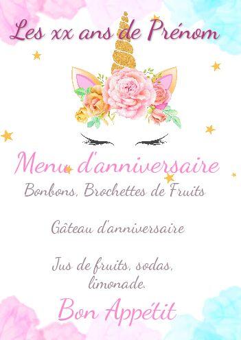 anniversaire menu licorne rose fille