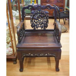 antique chinese dragon chair cover rental little rock impressive carved hardwood arm black wood armchair with figural back and ball claw feet paper label attached on under side of seat tack cheong tai