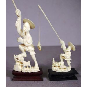 Chinese oriental ivory figures groups and other items