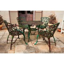 Metal Outdoor Table And Chairs Australia Posture Chair Desk Garden Furniture Cast Iron Price Guide Values Australian Setting C 1940 Painted Green Comprising Four Armchairs A Round 5 Height 70 Cm Diameter 80