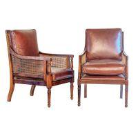 Near pair George III Sheraton mahogany cane and maroon ...