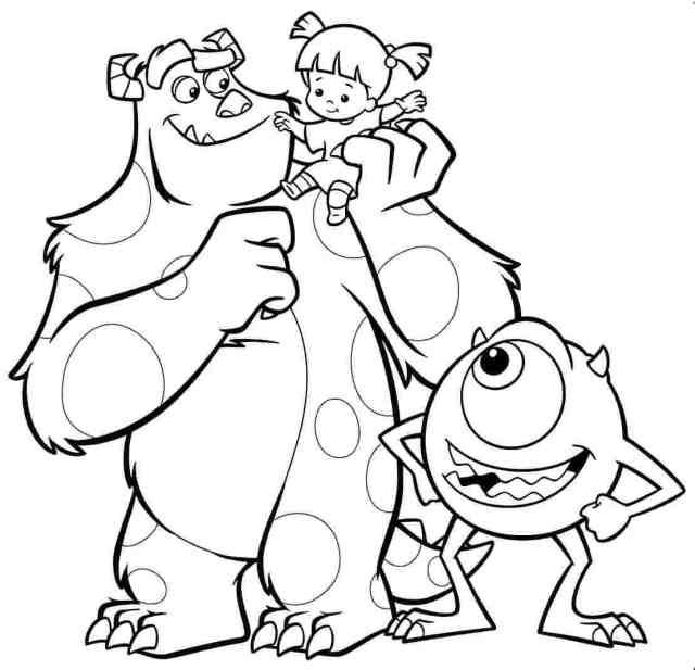 MONSTERS, INC SULLEY, MIKE AND BOO COLOURING PAGE colouring image