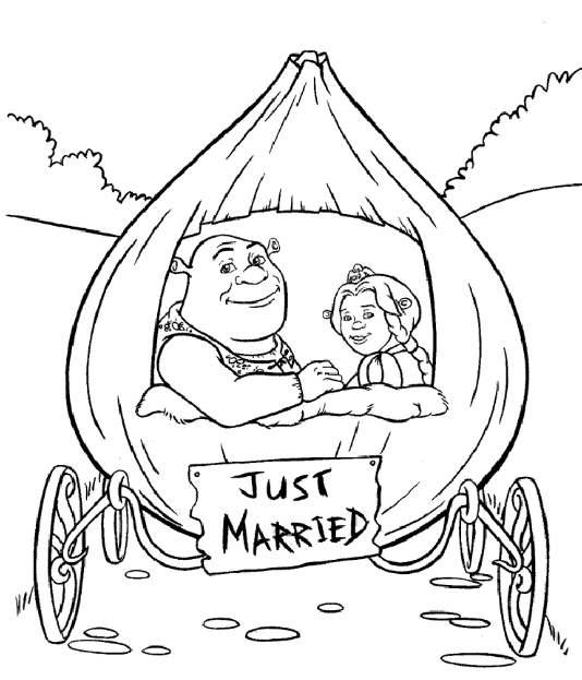 Shrek and Fiona Just Married colouring image