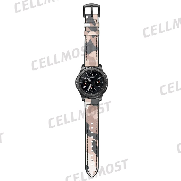 22mm Silicone + Leather Camouflage Watch Strap for Samsung