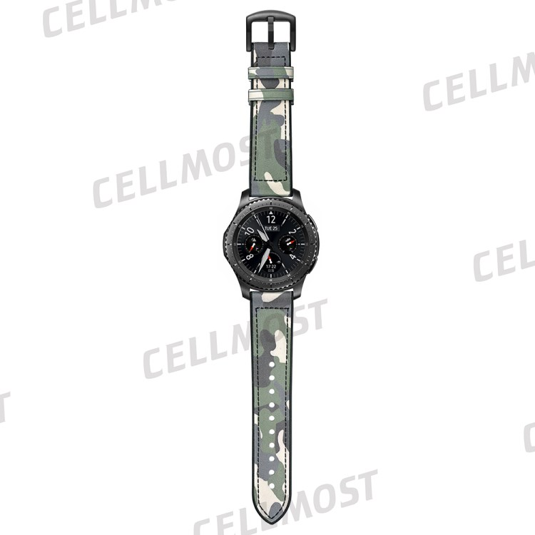 Silicone + Leather Camouflage Watch Strap for Samsung Gear
