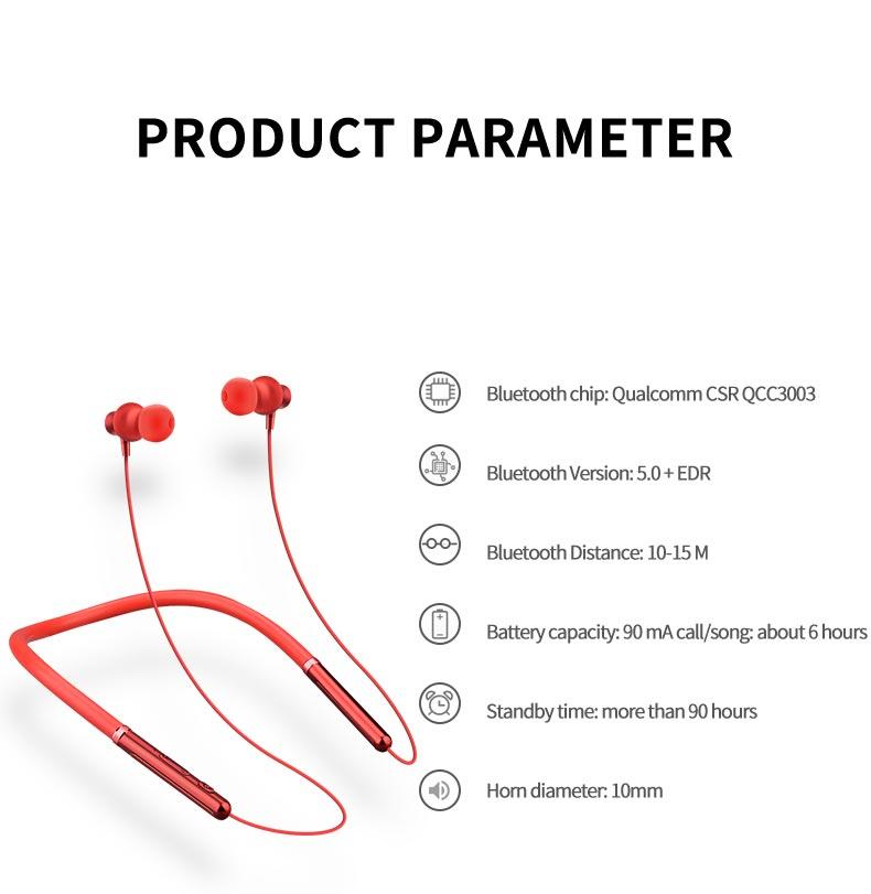 In-ear Neckband Bluetooth Earphone with Mic for iPhone