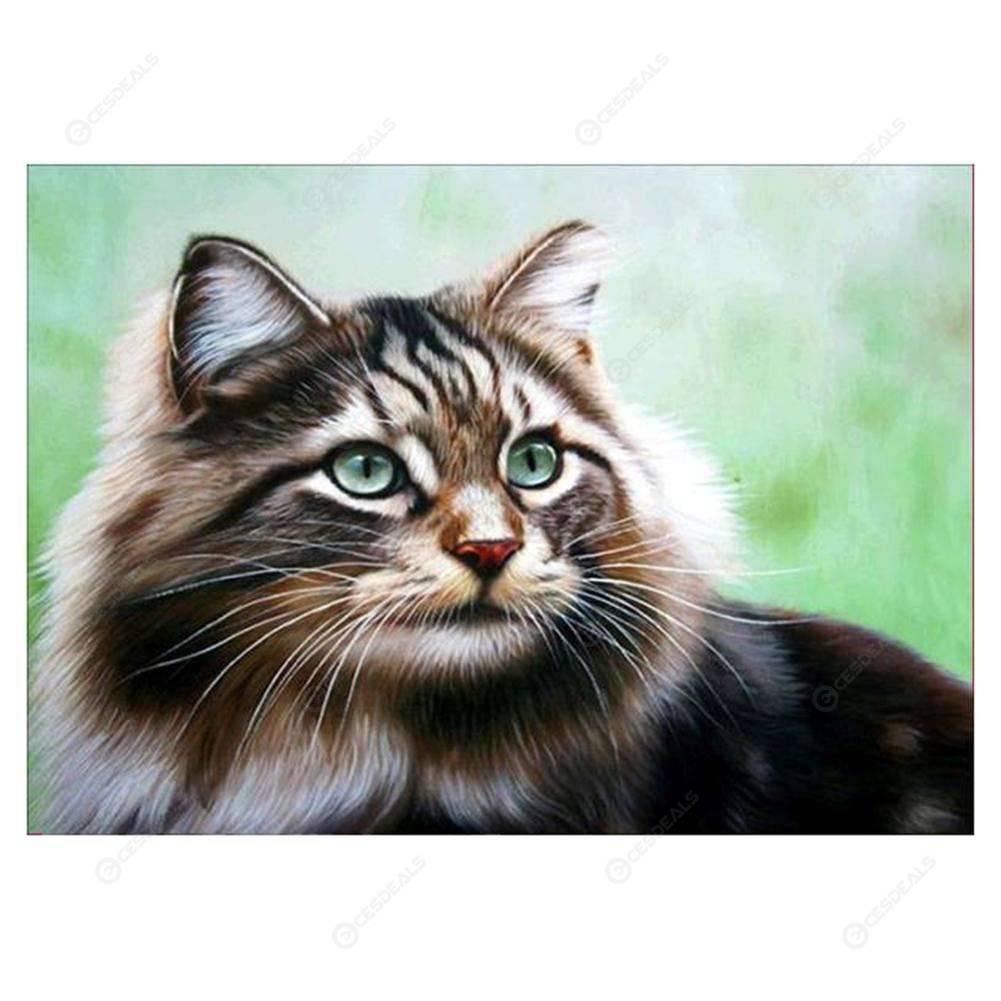 Gato Atigrado Diamante Redondo Bricolaje Pintura Kits De Bordado