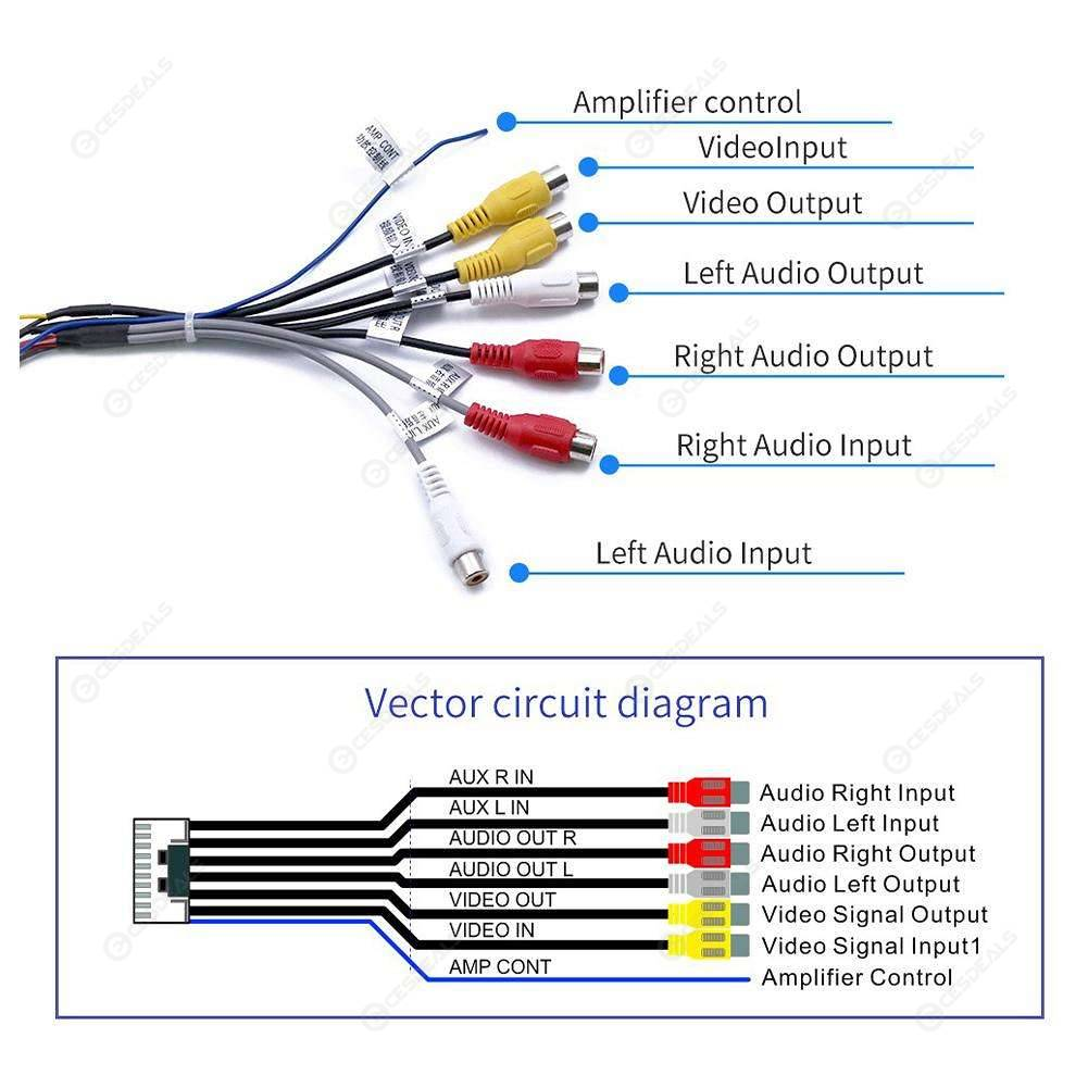 hight resolution of  20pin plug to 6x 3 5mm rca female car stereo adapter cable wiring harness