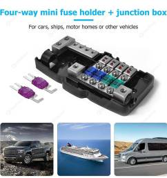 car audio stereo mini blade fuse holder distribution block 4 way fuse box  [ 1001 x 1001 Pixel ]