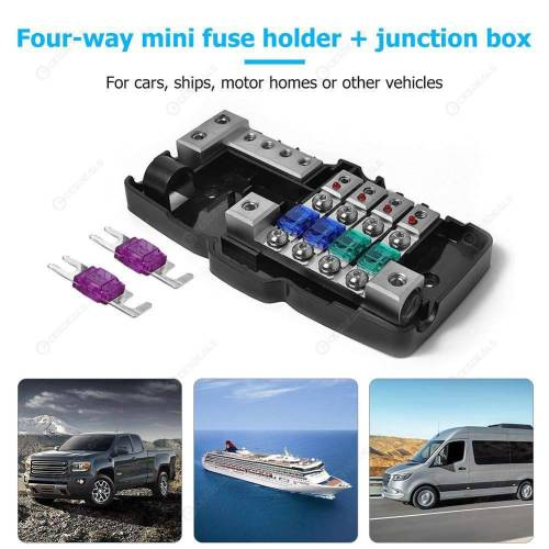 small resolution of  car audio stereo mini blade fuse holder distribution block 4 way fuse box
