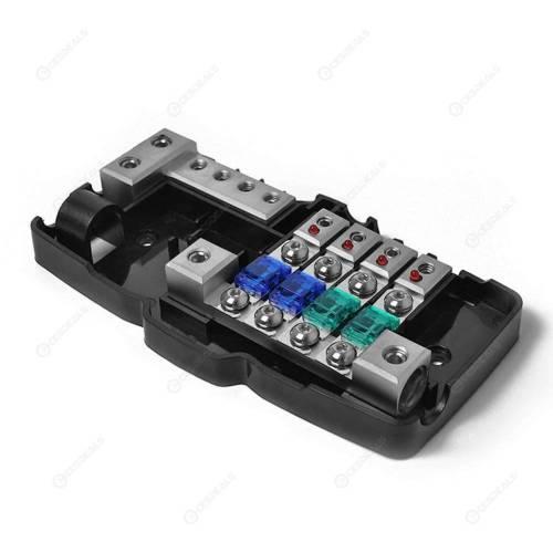 small resolution of  car audio stereo mini blade fuse holder distribution block 4 way fuse box