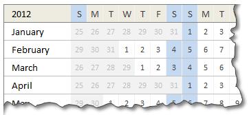 Free Mini Calendar Template - 2012