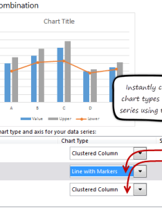 Using excel   combination chart screen to select types for each series of data is also bar with lower upper bounds tutorial chandoo learn rh