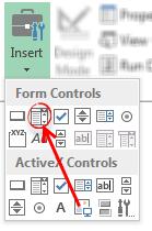 Insert combo-box form controls - Excel