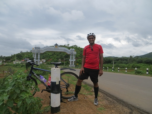 Thats me at the end of 118 km ride on Day 1 - near Annavaram village entrance