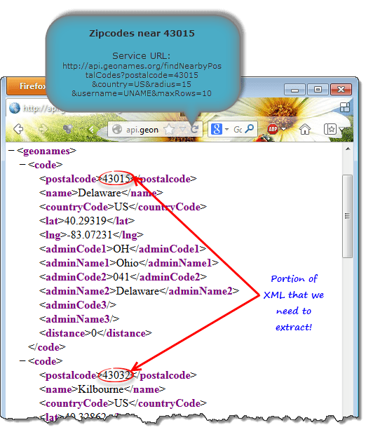 XML output provided by geonames.org - Finding nearby zip codes using Excel 2013 Web formulas