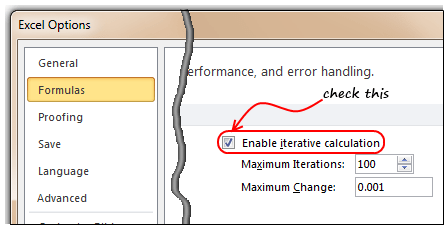 Enable Iterative Calculation mode to get Circular References work