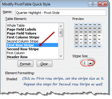 Edit styles - Pivot table formatting - setting row stripe sizes